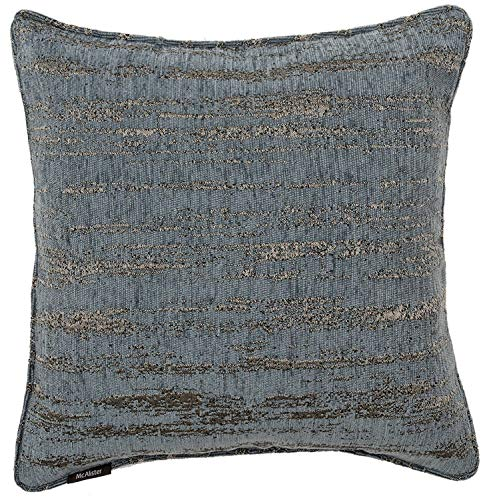 - McAlister Textiles Textured Chenille | Pillow Cover in Denim Blue | Square 18x18 Inches | Metallic Linen Decorative Throw Cushion Sham | Modern Couch & Bed Accent, Rustic Decor