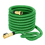 """VicTsing Garden Hose, 50 Feet 3/4"""" Expandable Garden Hose with Solid Brass Fittings, 3750 x 3750 Woven Cover, Durable Latex Core, for Garden Car Garage Deck, Green"""
