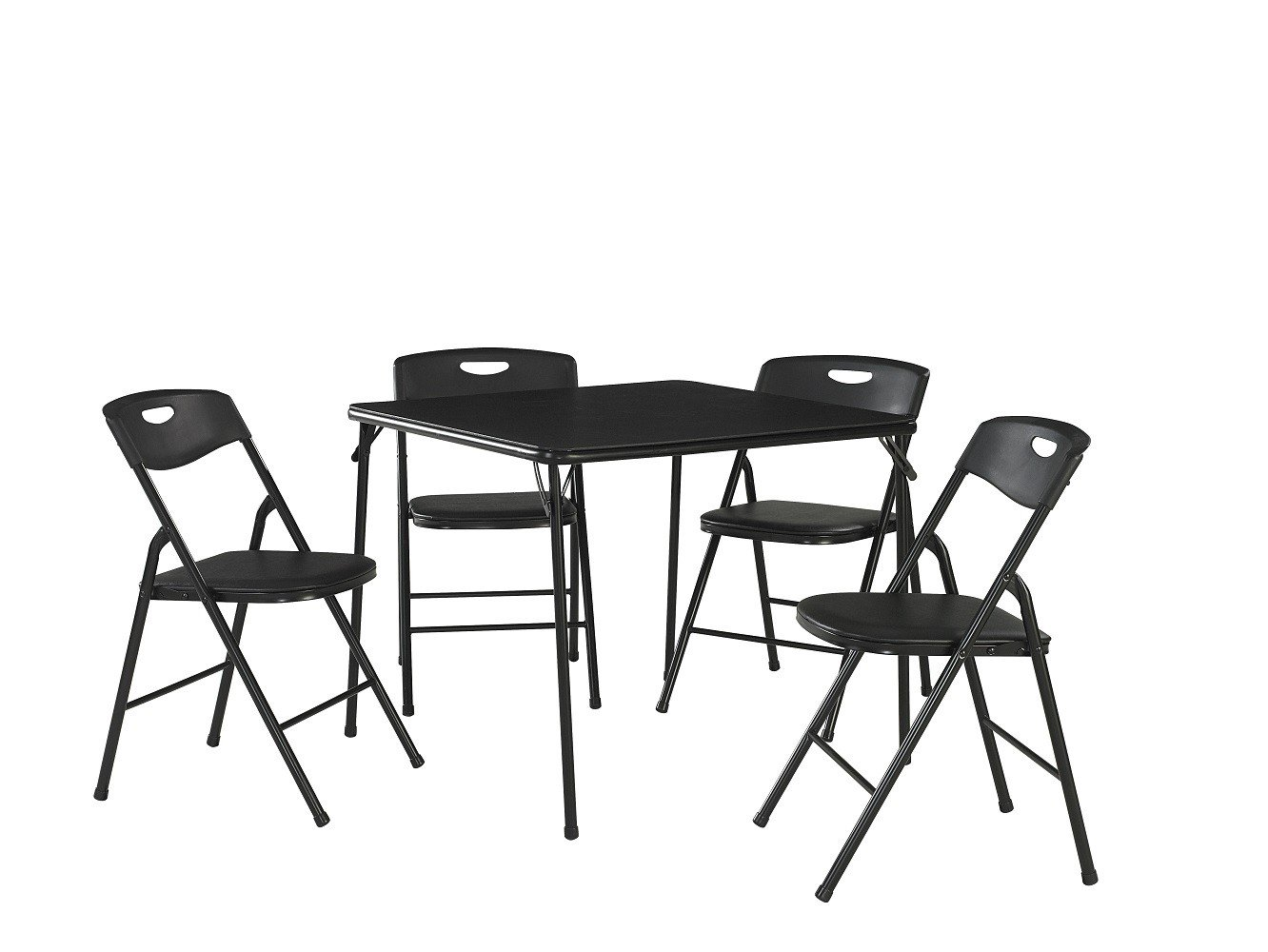 Cosco 5-Piece Folding Table and Chair Set, Black by Cosco