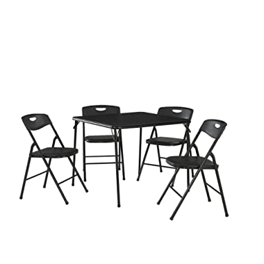 Cosco 37557BLKE 5-Piece Folding Table and Chair Set, Black