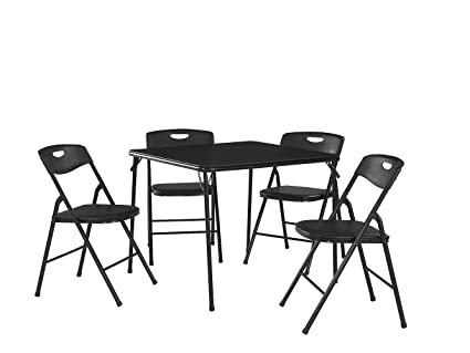 84ca7a0ddb0 Image Unavailable. Image not available for. Color  Cosco 37557BLKE 5-Piece  Folding Table and Chair Set Black