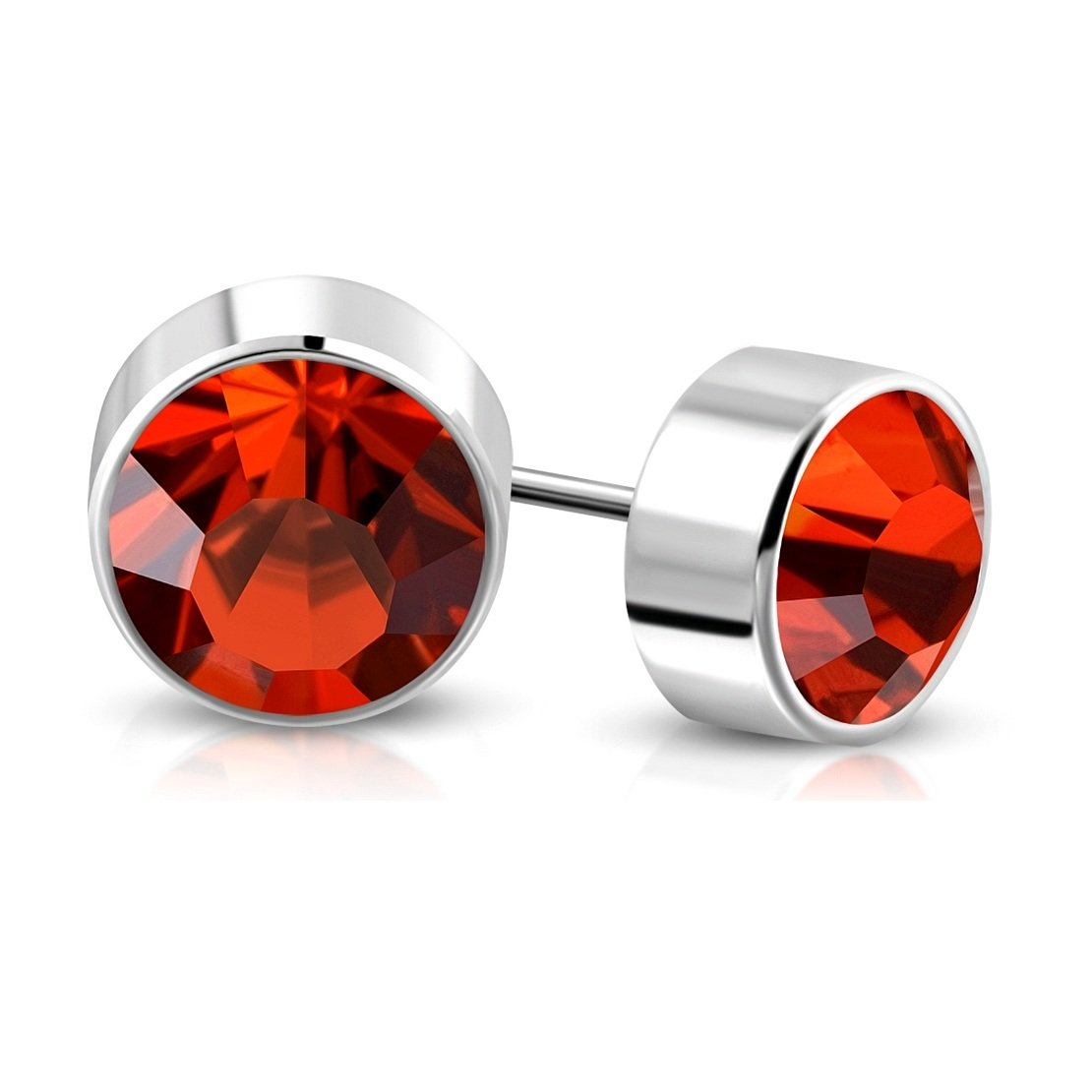 Stainless Steel Bezel-Set Round Circle Stud Earrings with Fire Opal Orange CZ pair