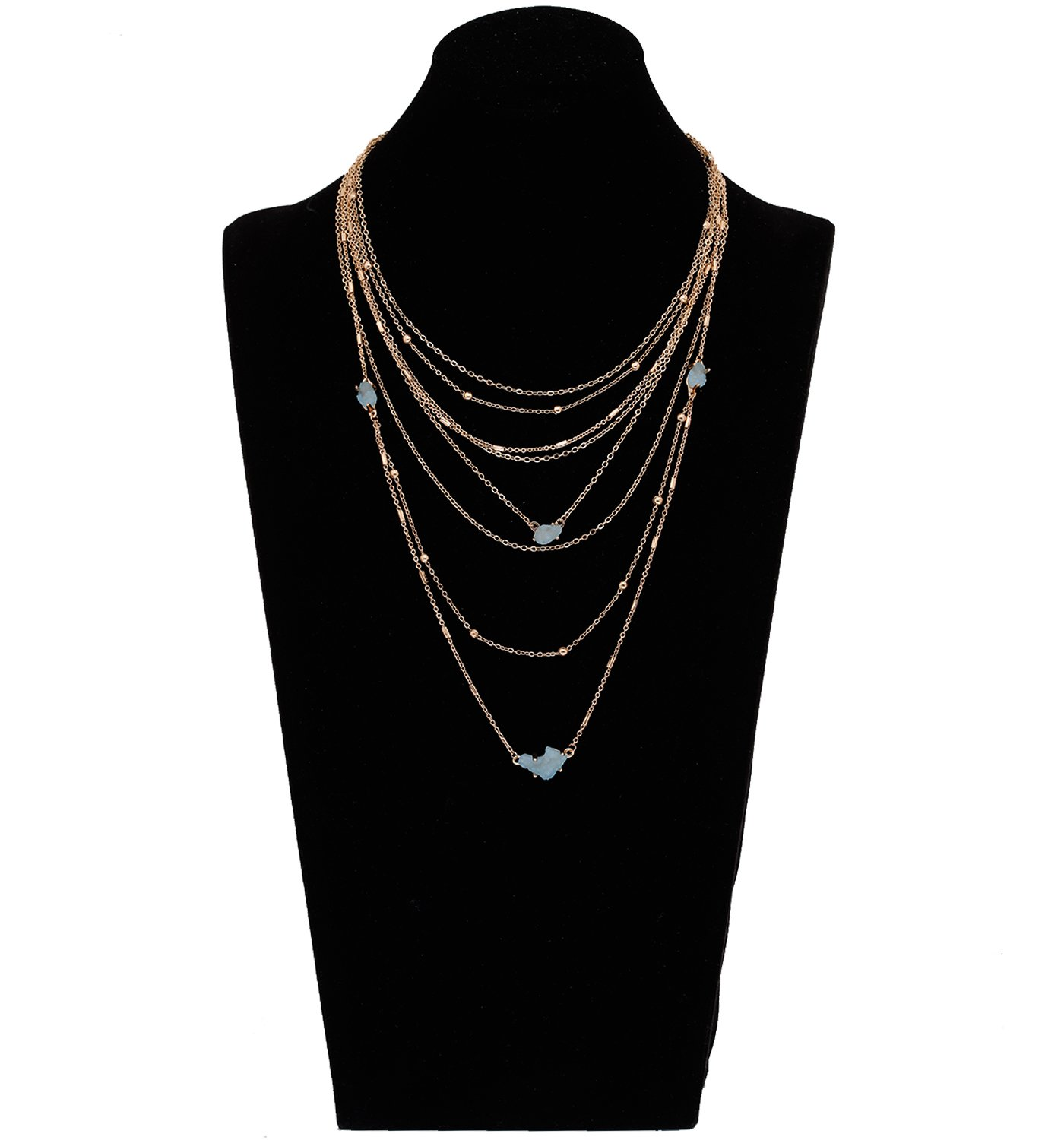 YEYA Bohemia Multilayer Necklace For Women Girls Waterfall Layered Choker Necklace Handmade Charm Chain Tassel Pendant necklace statement Jewelry Necklace (Blue)