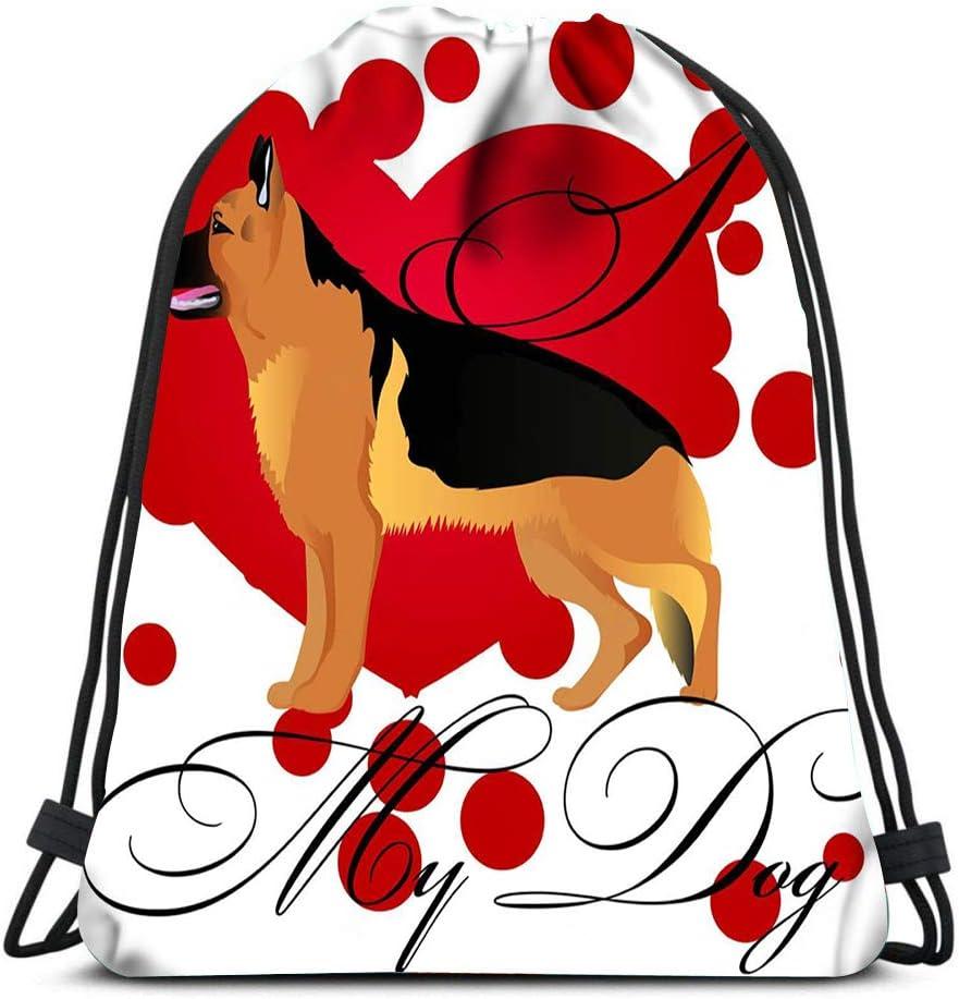 Drawstring Backpack I Love My German Shepherd Dog Laundry Bag Gym Yoga Bag