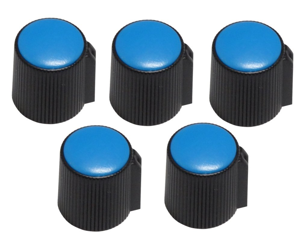 AERZETIX: Set of 5 potentiometer knobs. Inner diameter: 6mm. Colour: black and blue 3800946173298