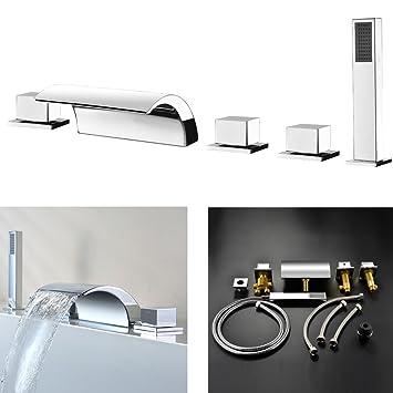 Armaturen badewanne wasserfall  Kinse® 5 Loch Armatur Set Badewanne Wannenrand Wasserhahn ...