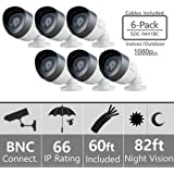 (Set of 6) SDC-9441BC Samsung 1080P Bullet Cameras with 60ft Cables Supported on SDH-C75100, SDH-C75080, and SDH-C74040 …