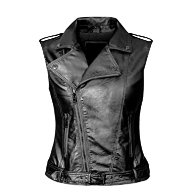 161933d07971 Daxvens Womens Motorcycle Biker Faux Leather Vest Slant Zip with Pockets  Black