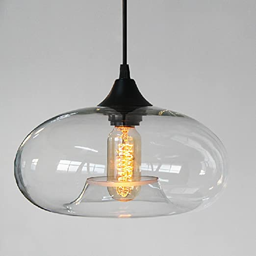 3451e3d0ccce Injuicy Lighting Loft Edison Vintage Industrial Transparent Glass Pendant  Lights Shade Retro Antique E27 Base Led