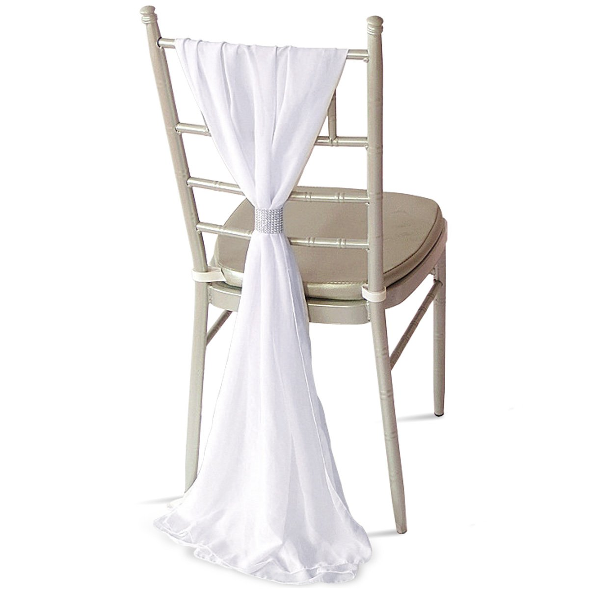 10x CHIFFON VERTICAL DROPS 70CMx2M 2 COLOURS DECOR CHAIR COVER WEDDING DECOR (Ivory) Anladia