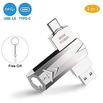Memoria USB 32GB, SHOVAN USB 3.0 + USB-C 2 en 1 unidad de memoria flash de aleación de zinc con llavero para Samsung, Huawei, Xiaomi, MacBook, Google, ...