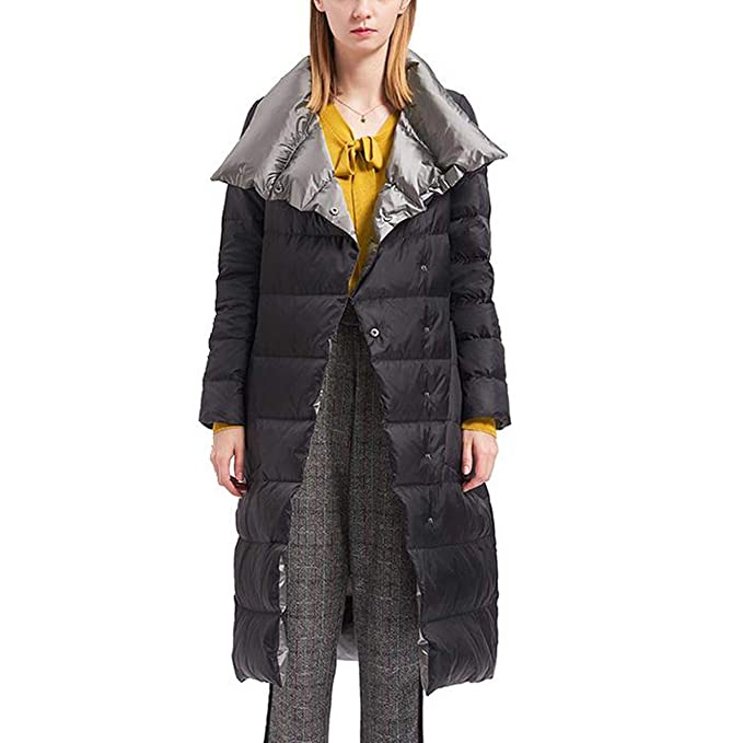 Womens Winter Single Breasted Thick Down Coat With Hoodie