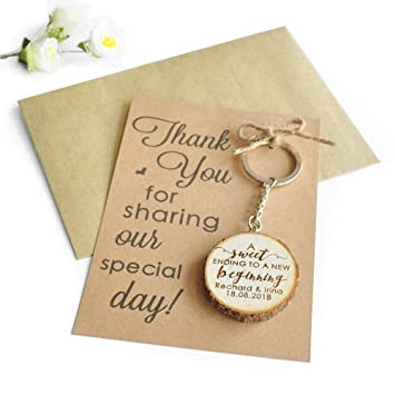 Amazon Wooden Keyringwedding Favoursmake A Wish Thank You