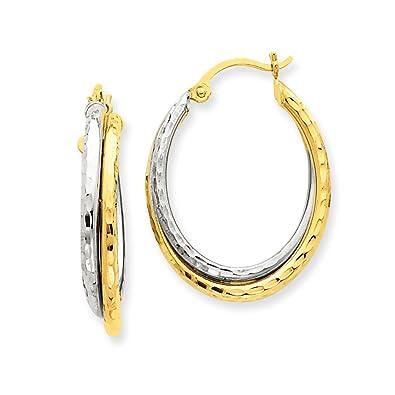 ff1b32d909e25 Amazon.com: 5 mm Diamond Cut Oval Hoop Earrings in Genuine 14k Two ...