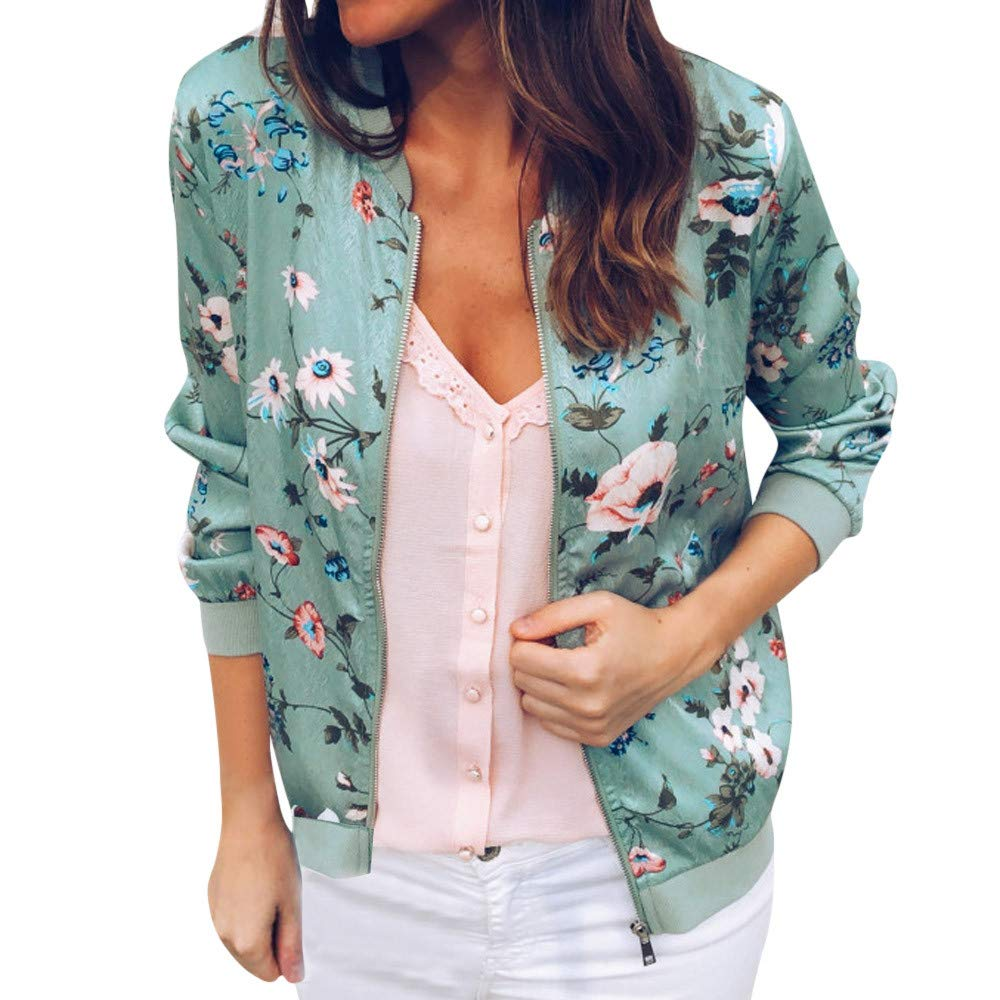 Coat For Women, Clearance Sale! Pervobs Womens Casual Retro Floral Zipper Up Long Sleeve Tunic Jacket Coat Outwear(M, Green)