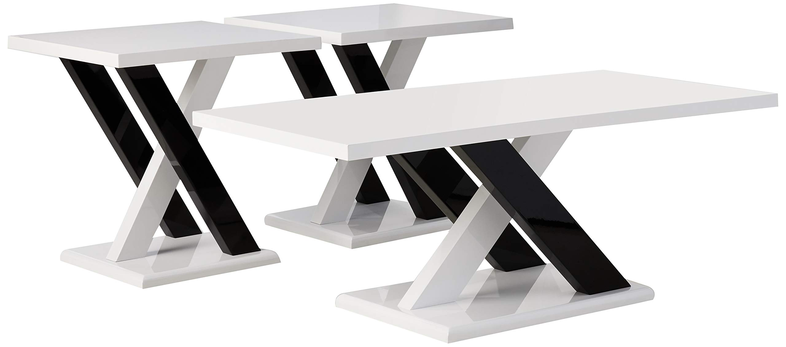 Coaster Home Furnishings 3-piece Occasional Table Set with Cross Supports White and Black by Coaster Home Furnishings