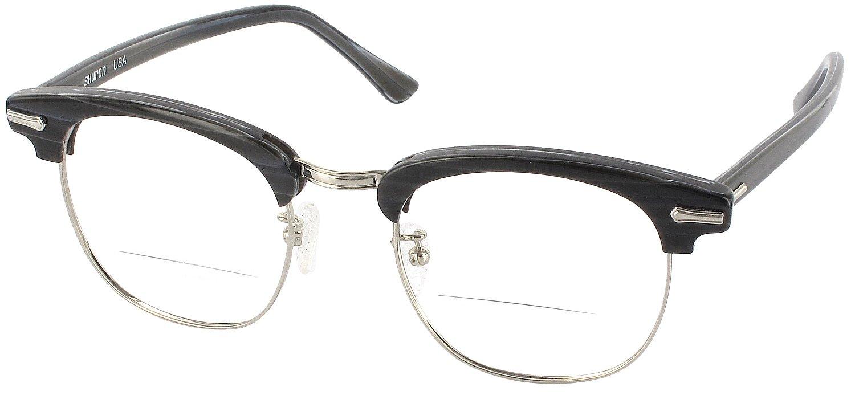 Shuron Ronsir 50 (Men's Average Fit) Bifocal Designer Reading Glasses, Black Briar, +3.25