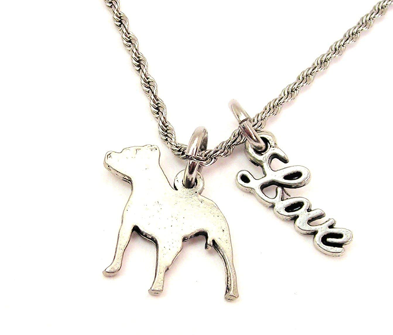 ChubbyChicoCharms Pit Bull Silhouette Stainless Steel Rope Chain Necklace with White Crystal Accent