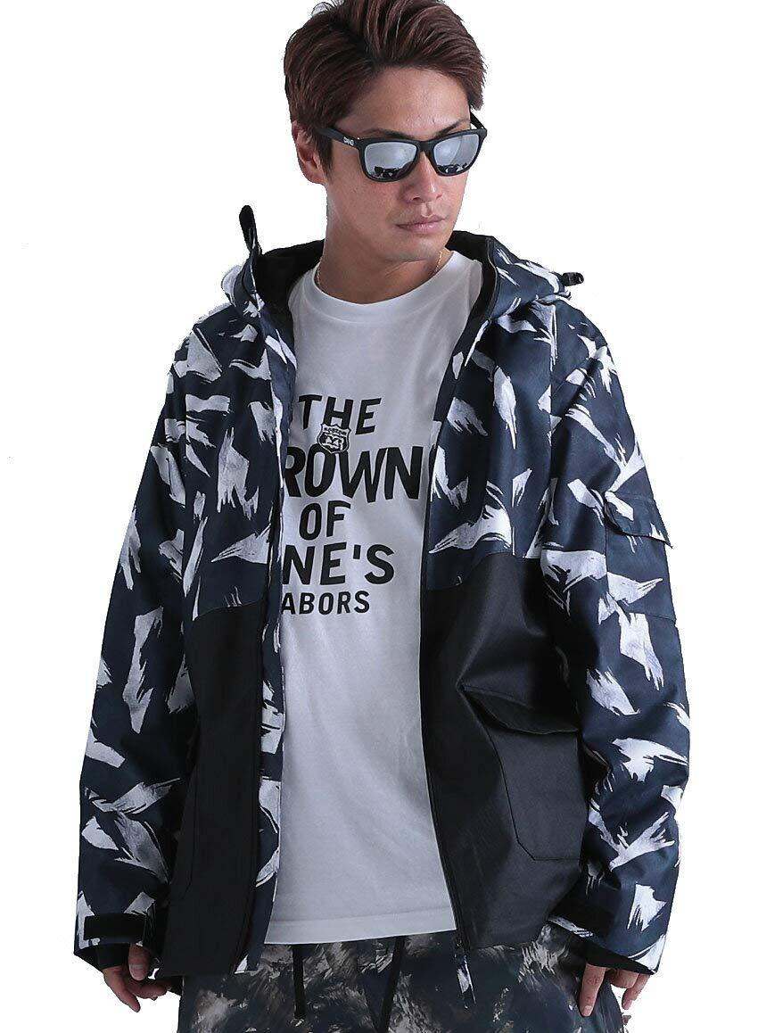 le-Rhythm(リアリズム) スノーボードウェア メンズ ジャケット スノーボードウェア ジャケット メンズ レディース ユニセックス モノトーンxブラック RM-2JK89  M(レディースXL)