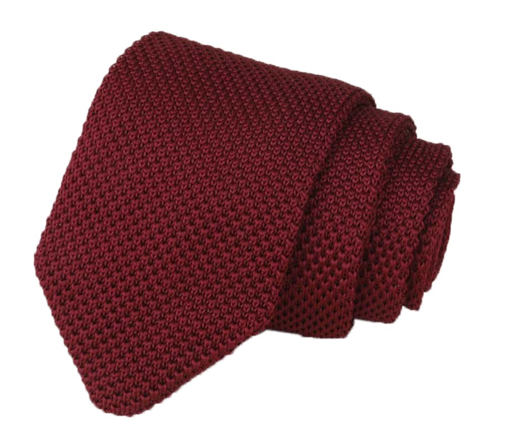 Men Solid Iron Wine Red Knit Ties Vintage Fashion 2'' Handmade Necktie for Gifts