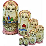 LK King&Light 7pcs castle pattern Wooden nesting toys Russian dolls Matryoshka stacking dolls