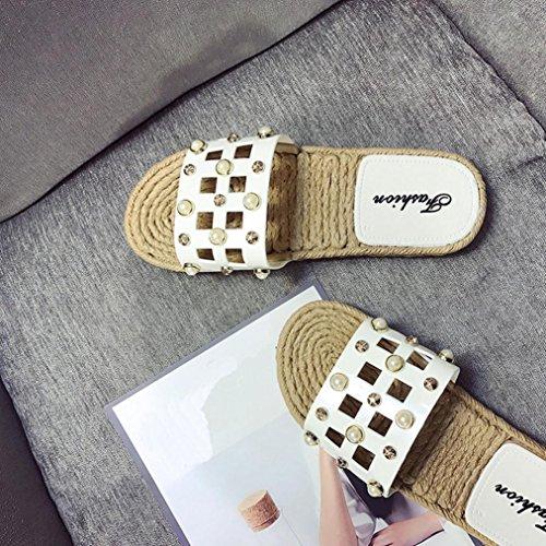 Spiaggia Di Estate Somesun Pelle Donna Pantofole Sandali Bianco Delle Da Appartamenti Perla Scarpe Artificiale Infradito nwSOw08qB