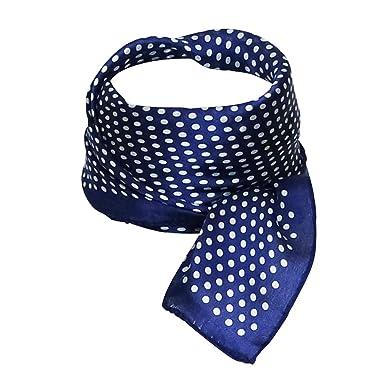 f197e136f47c Chapeau-tendance - Carré soie bleu pois blancs - - Femme  Amazon.fr ...