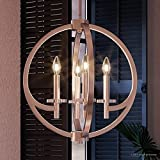 Luxury Globe Pendant or Chandelier, Medium Size: 19.5''H x 18''W, with Old World Style Elements, Orbital Sphere Design, Pretty Brushed Nickel Finish and Open Circle Shade, UQL2550 by Urban Ambiance