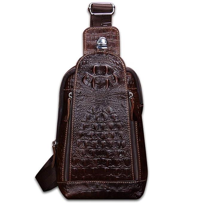2825c0bb7 GHC Bolsos y Hombro Bolso bandolera bandolera de cuero de cocodrilo para  hombres Bolso bandolera para hombre (Color : Brown, Size : M): Amazon.es:  Ropa y ...