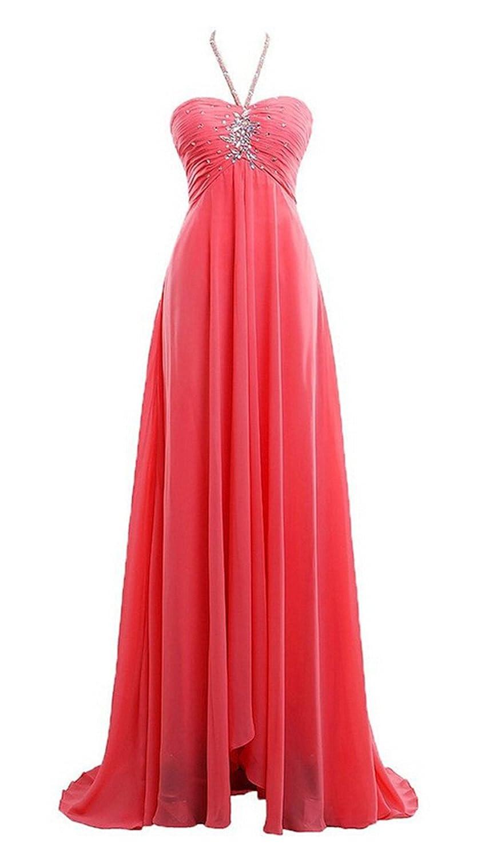 AngelDragon Charming Halter Chiffon Beading Evening Gowns Long Prom Dress