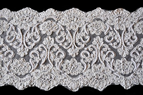 "Altotux 10.5"" Ivory Corded Handsewn Beaded Sequins Embroidered Lace by Yard"