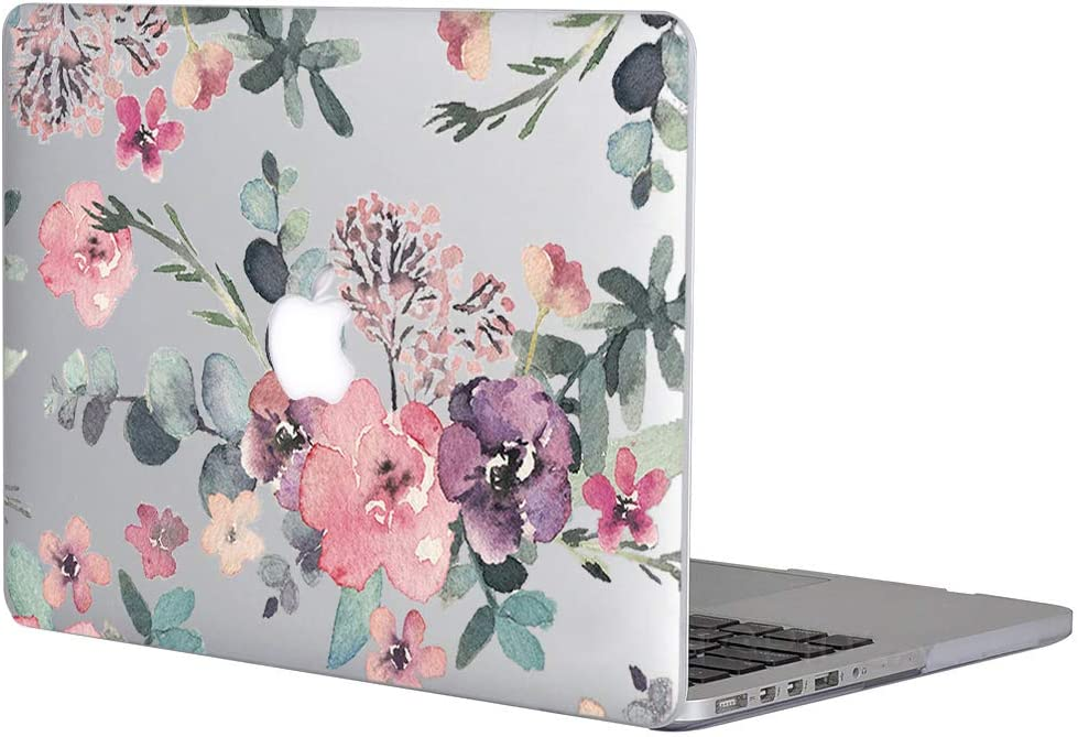 "Case for MacBook Air 11 Inch - L2W Hard Plastic Printed Cover Compatible with MacBook Air 11.6"" with Two USB 3 Ports, Model: A1465/A1370, Protective Translucent Slim Shell Flower Paint"