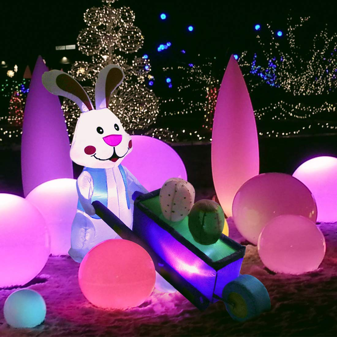 VIVOHOME 5.5ft Long Inflatable LED Lighted Bunny Pushing Wheelbarrow with Eggs Easter Outdoor Yard Decoration