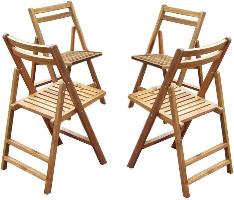 Folding Acacia Outdoor Dining Chairs–Set of 4