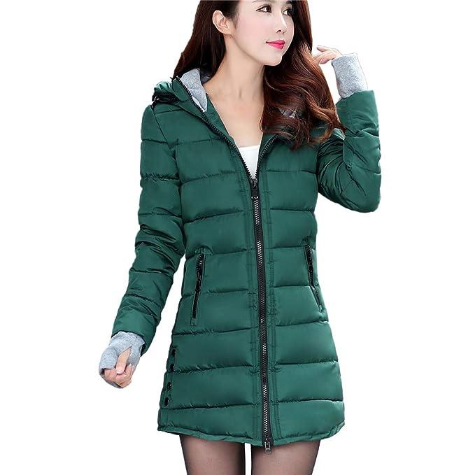 d40198a26 PENATE Women's Long Slim Down Jacket Girls Winter Warm Hooded Cotton Padded  Coat