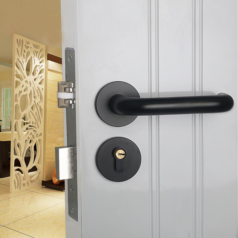 Daeou Indoor mute handle hardware door handle bedroom solid wood door lock space aluminum door lock