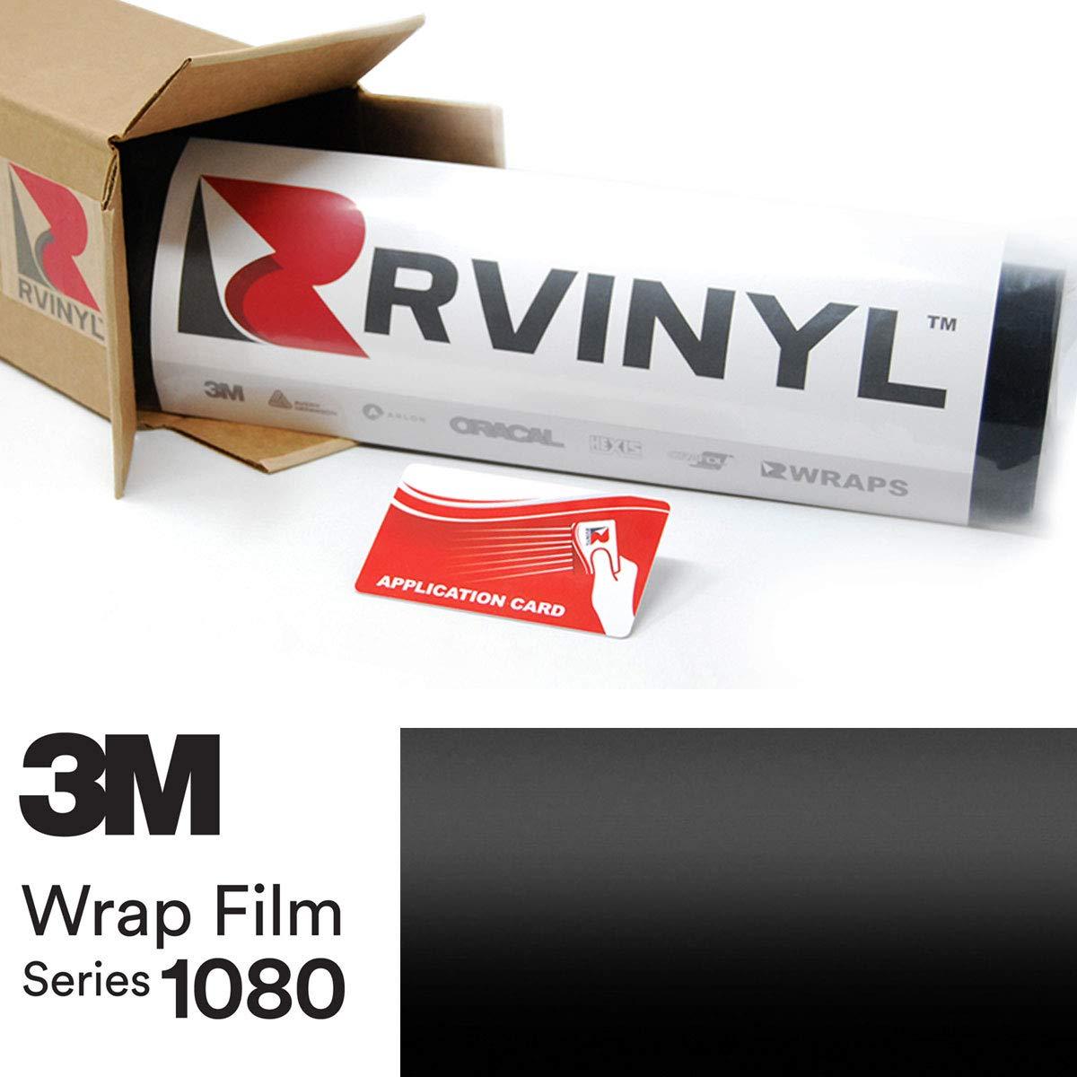 3M 1080 S12 Satin Black 5ft x 1ft W/Application Card Vinyl Vehicle Car Wrap Film Sheet Roll