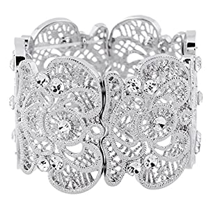 D EXCEED Womens Bohemian Lace Bracelet Vintage Filigree Cuff Bangle Bracelet Wide Stretch Rhinestone Bracelets for Ladies