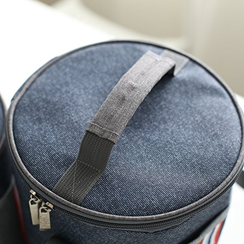 85ae75aa517d Baling Denim Blue with Stripe Washable Oxford Cloth Cooler Bag ...