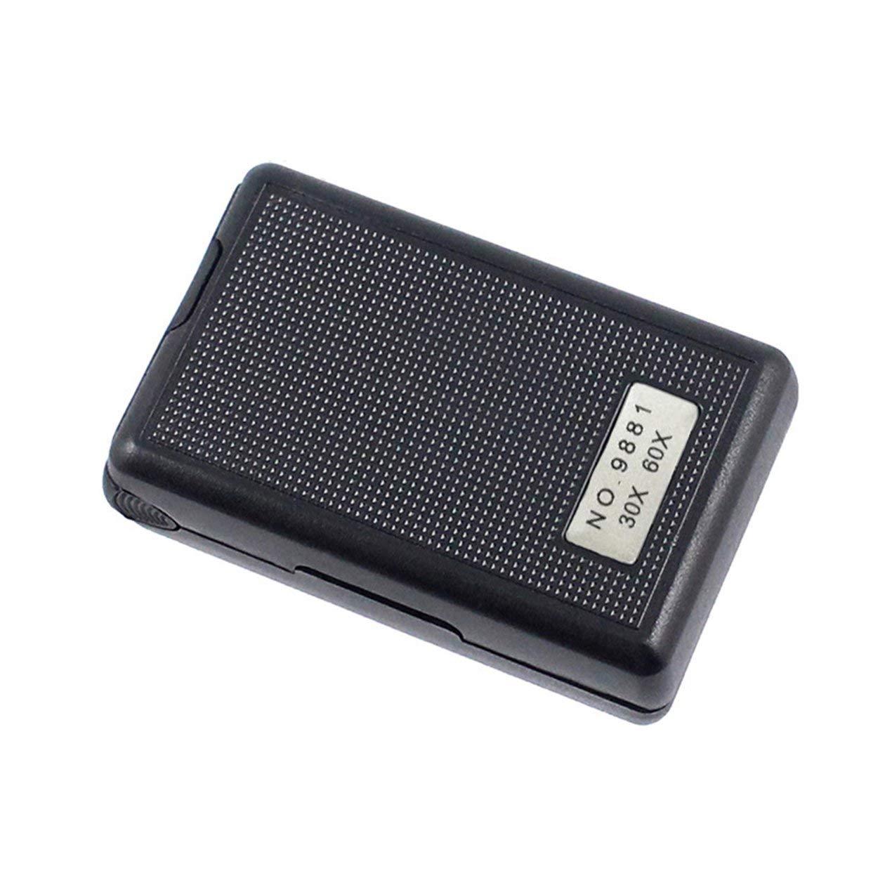 colore: nero 30X 60X Lente di ingrandimento per gioielli a tiretto Mini lente dingrandimento per mani Lente di ingrandimento Microscopio portatile Lente per lenti ottiche con luce a LED