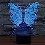 3D Illusion LED Night Light,Threetoo 7 Colors Gradual Changing Touch Switch USB Table Lamp for Holiday Gifts or Home Decorations-Butterfly Model