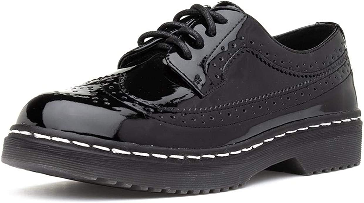 Lilley Womens Black Patent Lace Up