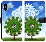 Liili Premium iPhone X Flip Micro Fabric Wallet Case Cloud computing growth and the future of virtual storage and internet based remote desktop illustrated by t