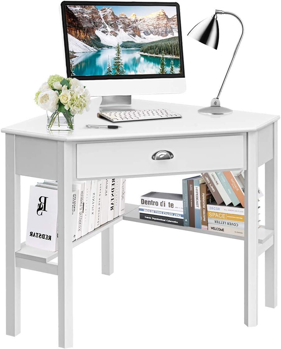 Tangkula White Corner Desk