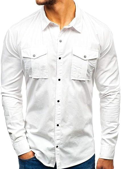 ZODOF camisa hombre camisas sport Nuevo Casual Comodo Moda Empalme Estampación Multi-bolsillo Suelto Manga larga Camisa Tops Blusa Moda para hombre camisa lino hombre(L,Blanco): Amazon.es: Instrumentos musicales