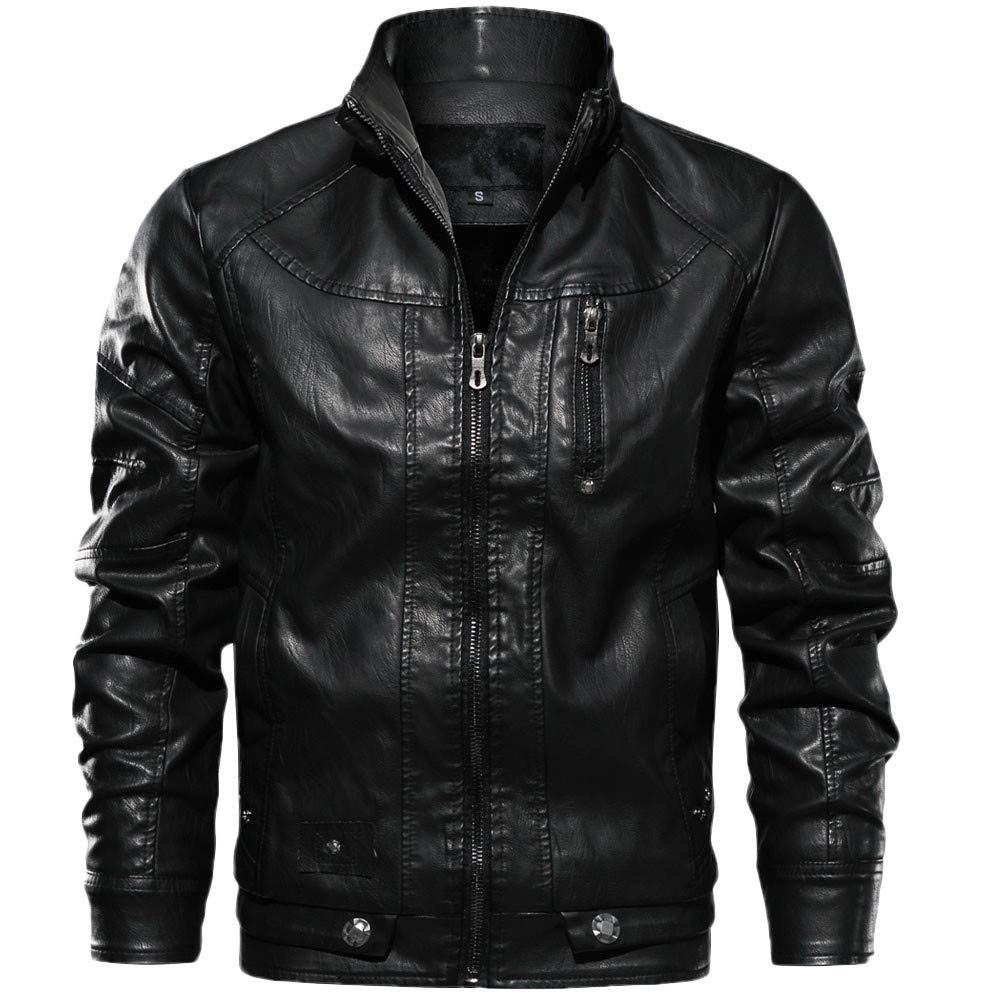 iYYVV Mens Autumn Winter Casual Long Sleeve Solid Stand Zipper Retro Leather Jacket
