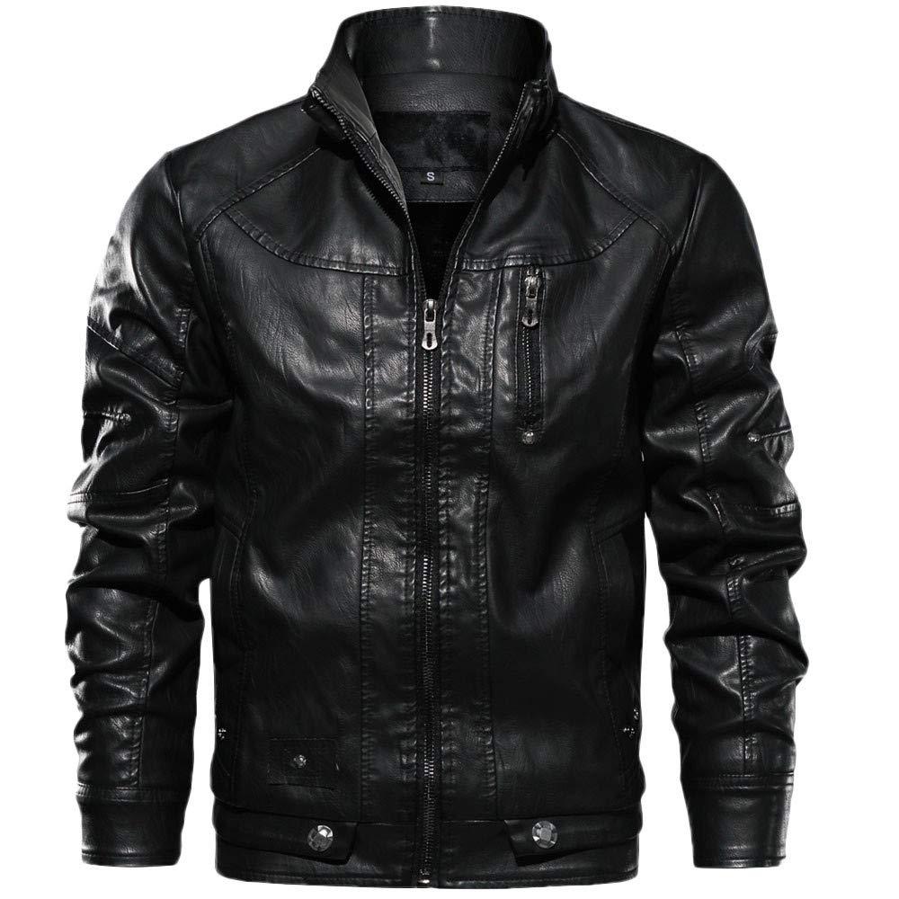 Mens Flight Suit,Men's Winter Solid Stand Leather Jacket Windbreaker,Winter Coats for Boys(S,Black)