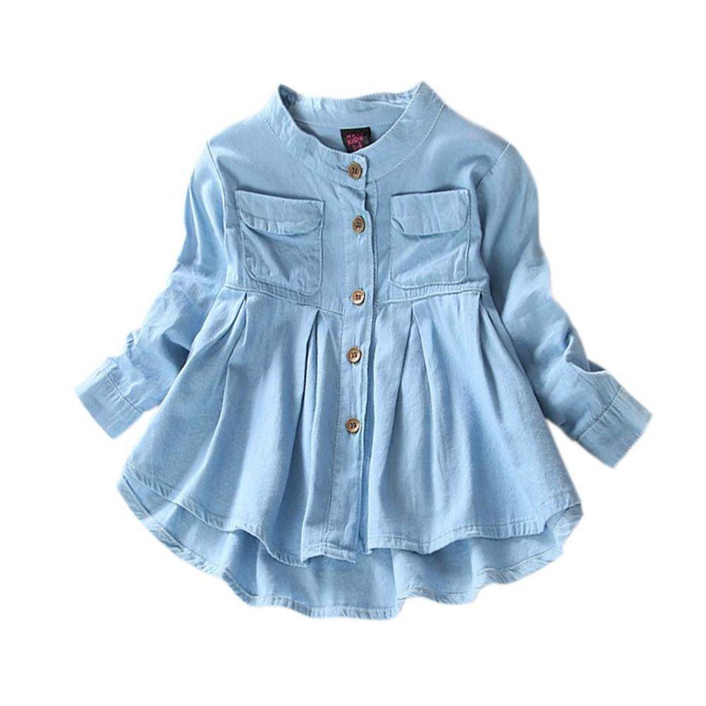 Zhengpin Baby Kids Girls Autumn Long Sleeve Top T-Shirt Imitation Denim Cotton Button Dress