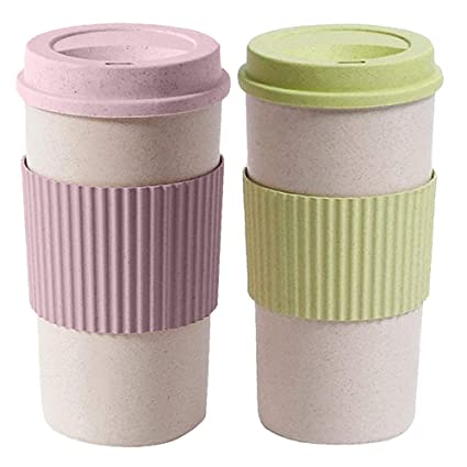 380c083762bb Amazon.com: MyLifeUNIT Reusable Coffee Travel Mug with Lids, 15 Oz Bamboo  Fiber Beverage Cup (Pack of 2): Kitchen & Dining