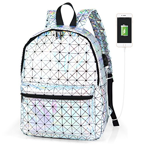 - xhorizon SRR Holographic Laser Backpack PU Leather School Backpack Travel Casual Satchel Daypack with USB Charging Port